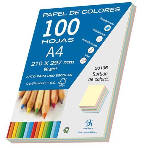 Papel colores surtidos pastel A4 100 hojas