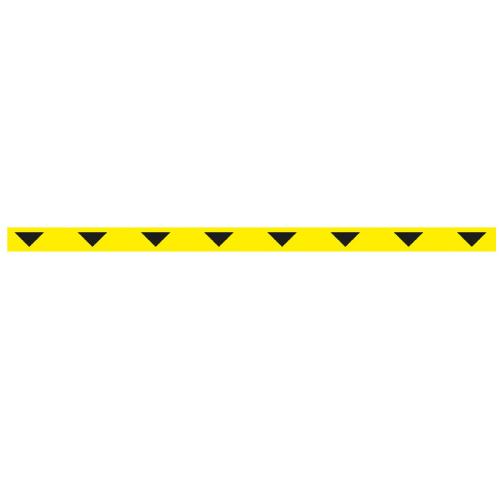 Linea adhesiva para suelo amarilla con triángulos