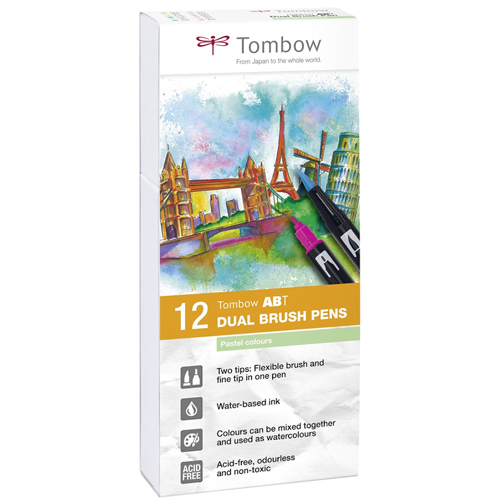 Estuche 12 rotuladores color pastel dual brush detalle 3