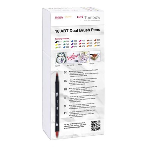 Estuche 18 rotuladores colores primarios dual brush detalle 1
