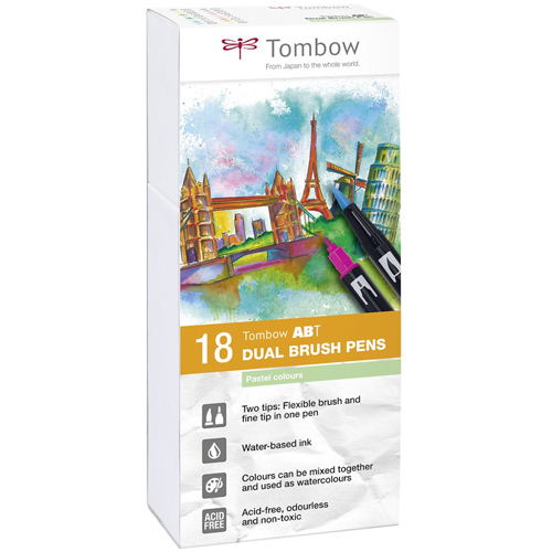 Estuche 18 rotuladores color pastel dual brush detalle 2