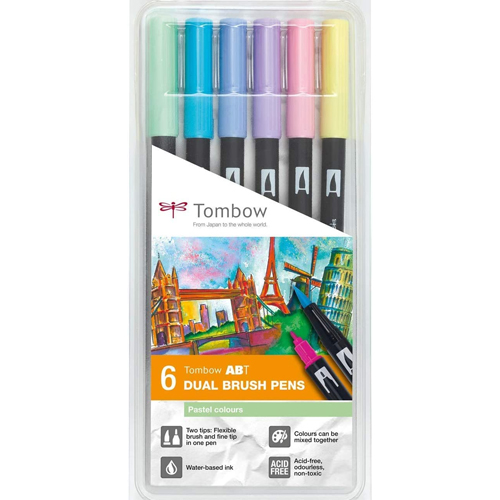 Estuche 6 rotuladores color pastel dual brush detalle 1