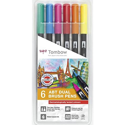 Estuche 6 rotuladores colores primarios dual brush detalle 1