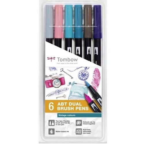 Estuche 6 rotuladores punta pincel color vintage detalle 1