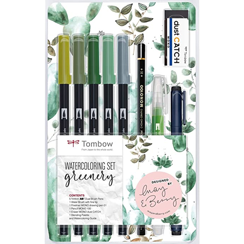 Set watercoloring greenery detalle 1