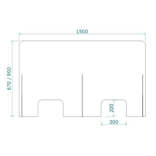 Mampara de protección horizontal de 150 x 90 cm detalle 1