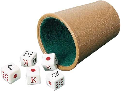 Dados de poker con cubilete forrado