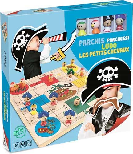 Parchís piratas madera detalle de la caja