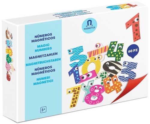 Números magnéticos 60 piezas detalle de la caja