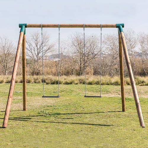 Columpio 2 plazas FOX para adultos madera cadenas