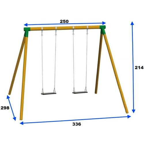 Columpio 2 plazas FOX para adultos madera cadenas detalle 1