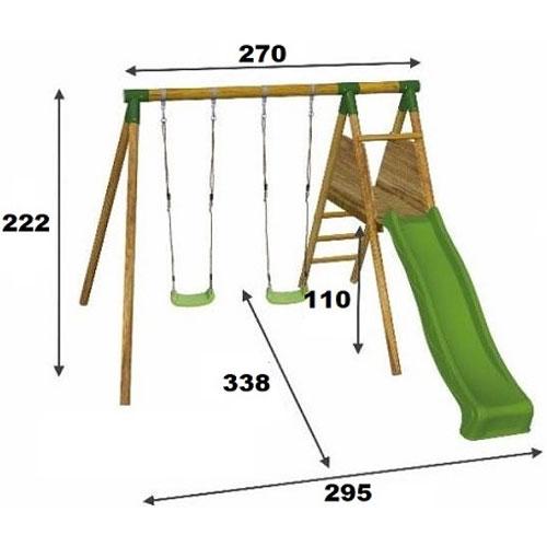 Columpio con tobogán MOA madera detalle 1
